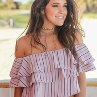 Mauve Striped Off Shoulder Top