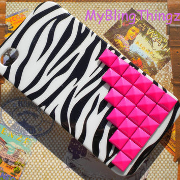 For iPhone 5 5S - Bright Hot Pink Metal Pyramid Studs on Black White Zebra Back Case Cover Shell Skin
