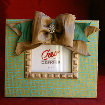 Handmade Lattice Gold and Turquoise 4x6 Picture Frame Photo Frame with Bow and Rhinestone Brooch Wedding Gift