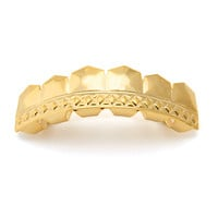 Gold Diamond Pattern Top Grillz
