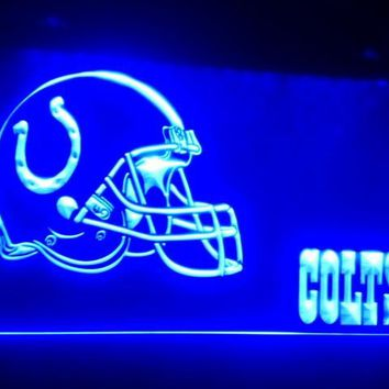 B-203 Indianapolis Colts Helmet  beer bar pub club 3d signs LED Neon Light Sign vintage home decor man cave