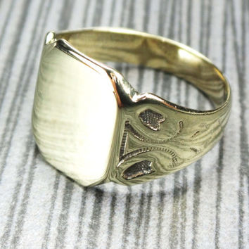 Vintage 14k Gold Ring 1920's Antique Gold Ring Art Nouveau Arts and Crafts Hand Engraved Ring Signet Engravable Size 5.75