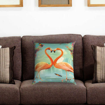 Vintage Heart Flamingo Pillow Cover , Custom Zippered Pillow Case One Side Two Sides