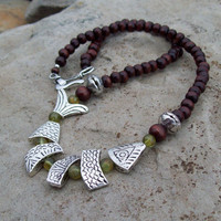 Silver Fish Necklace, Beaded Bohemian Necklace, Peridot Gemstones and Wood Beaded Necklace