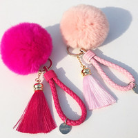 Soft Furry Ball Tassel Keychain Strap