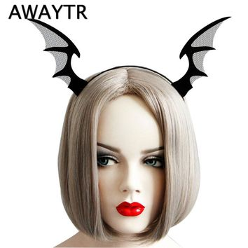 New Arrival Black Pokemon Evil Horn Headbands Halloween Bat Fairy Hairbands Men Woman Cosplay Party Girls Hair Accessories
