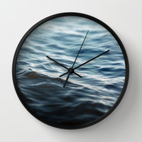 Dark Waters 2 - Wall Clock, Navy Blue Ocean Water Hanging Clock, Coastal Beach Surf Home Decor. Available in Black / White / Natural Wood