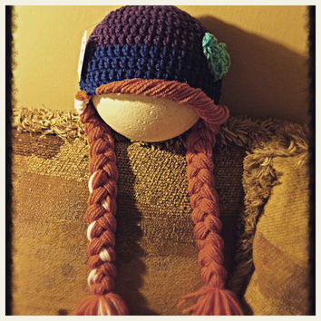 Ana from Frozen - crochet beanie with braids - all sizes - made to order