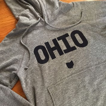 Ohio hooded Sweat Shirt.  OH sweater with block lettering and state icon.  Grey Hoodie with navy blue ink. Blended Cotton.