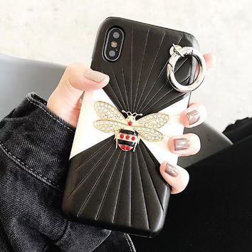 GUCCI Fashionable Women Chic Bee Pearl Mobile Phone Cover Case For iphone 6 6s 6plus 6s-plus 7 7plus 8 8plus X