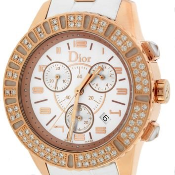 Ladies Christian Dior Chrystal White 38mm 18K Rose Gold Diamond CD114370 Watch
