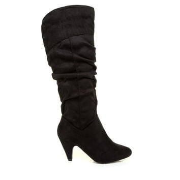 JOY Black Micro Faux Suede Mid Heel High Calf Slouch Boots