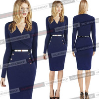 Womens Cotton Tunic Long Sleeve Business Cocktail Party Bodycon Pencil Dress 301