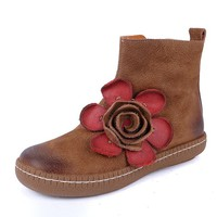 Women'S Genuine Leather Chelsea Boots With Handmade Flowers Gray/Camel