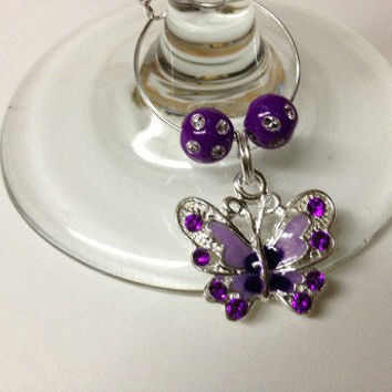 Wine Charm Butterfly Purple Beads Party Favors