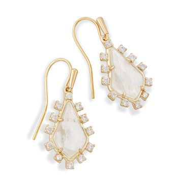 Juniper Gold Drop Earrings in Rock Crystal | Kendra Scott