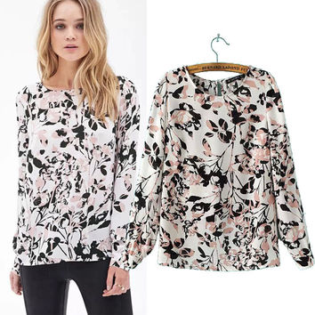 Women's Fashion Print Backless Pullover Long Sleeve Shirt [7831999367]