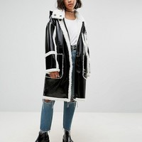 ASOS Oversized Parka In Cracked Vinyl With Borg at asos.com