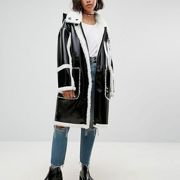 ASOS Parka In Cracked Vinyl With Borg at asos.com