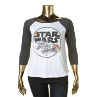 Star Wars Womens Juniors Graphic Back Cut-Out Baseball Tee