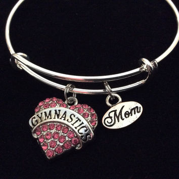 Pink Gymnastics Mom on a Silver Expandable Bangle Bracelet Sports Team Coach Gift Adjustable Wire Charm Bangle