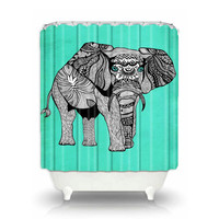 Artistic Shower Curtain for your home decor 'Elephant of Namibia' Turquoise