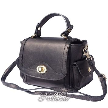 Small Italian Genuine Leather Black Handbag with Shoulder Strap