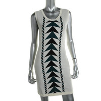 Bar III Womens Printed Knee-Length Sweaterdress