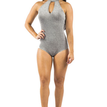 Silver Shimmer Body Suit with Choker Detail