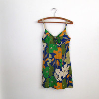 1960s vintage bright op art floral print mini dress - orange green olive blue white colored - sleeveless - small / medium