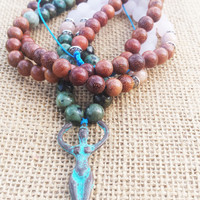 GODDESS Necklace Fertility Ancient Greek Goddess Mala Necklaces Moonstone Rose Quartz Wood Mala Necklace African Turquoise Boho Hippie Gypsy