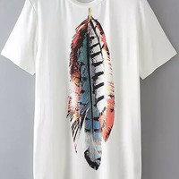 White Feather Print Long Line Shirt