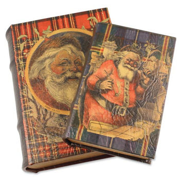 Santa Plaid Nesting Books