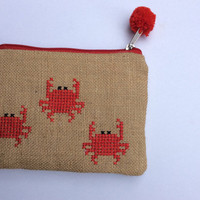 Red crabs, burlap pouch bag, cross stitch embroidery ,accessories pouch, handmade pouch, travel accessory