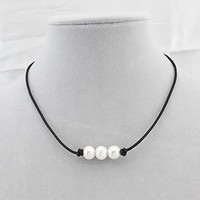 Freshwater Pearl Leather Cord Choker for Women with 3 Simple AA Quality Beads Necklace Natural Handmade by Wiw Jewelry