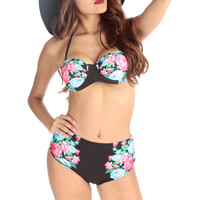 Black Floral Print High Waist Push Up Two Piece Swimsuit