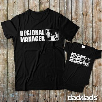 Regional Manager and Assistant To The Regional Master Matching Dad and Baby Shirts
