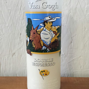 NEW! Van Gogh Espresso Flavored Vodka Bottle Soy Candle- Painted Label