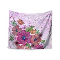 "KESS InHouse Julia Grifol ""My Garden in Pink"" Magenta Floral Wall Tapestry, 51"" X 60"""""