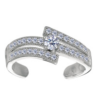 Sterling Silver Micropave With CZ Cuff Style Adjustable Toe Ring