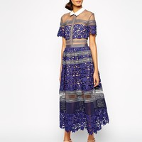 Self Portrait Liliana Lace & Mesh Midi Dress