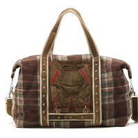 Wool and leather travel bag with double front pocket, made from a wool blanket and Tyrolean jacket