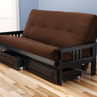 Woodbury Full Size Futon Sofa and Drawer Set, Black Painted Hardwood Frame And Soft Suede Innerspring Mattress, Chocolate