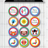 Printable Cupcake Toppers, Animal, Art, Music, Toddler, Colorful, Caterpillar, Sun, Birthday, Party Decorations, DIY,  INSTANT DOWNLOAD