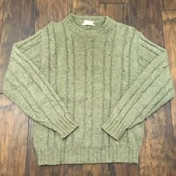 Vintage Vaughn Sather Gate University Shop Green Wool Cable Knit Sweater Large