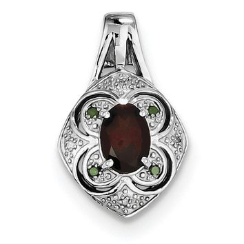 Sterling Silver Oval Garnet, White and Green Diamond Pendant