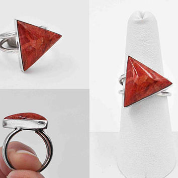 Vintage Sterling Silver Red Sponge Coral Ring, Modernist, Triangular, Triangle, Domed, Size 7 1/4, Fantastic! #c252