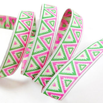 Green Lime & Pink Chevron Triangle Woven Embroidered Jacquard Trim Ribbon - 1 Meter or 3.3 Feet or 1.09 Yards