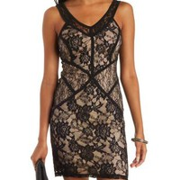 Black Combo Paneled Lace Bodycon Dress by Charlotte Russe