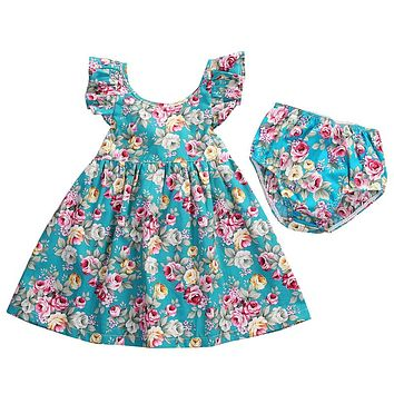 Toddler Infant Baby Girl Summer Ruffle Floral Beach Dress Baby Girl Briefs Dress  New Sundress Kids  For Girls